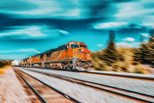 Freight train BNSF Railway Companies on a sunny day in Arizona. Motion..
