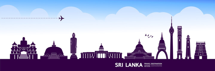 Fototapete - Sri Lanka travel destination grand vector illustration.
