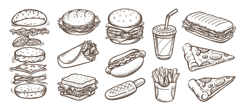 Vector set of fast food. Vector illustration in sketch style.