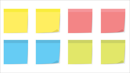 Collection of different color sticky note papers isolated on background. Multicolor post-it notes with curled corner and shadows. Realistic vector illustration. Set of sheets of note paper for text.