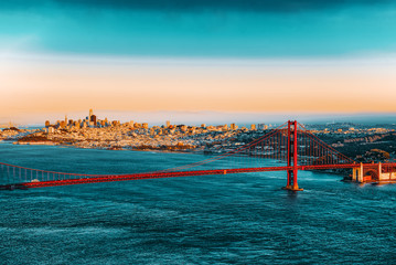 Panorama on San Francisco and the Gold Gate Bridge.