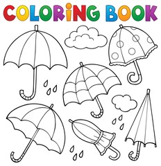 Photo sur Aluminium Enfants Coloring book umbrella theme set 1