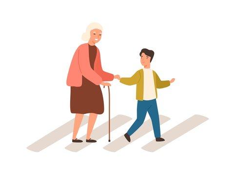 Joyful polite boy help grandmother cross street vector flat illustration