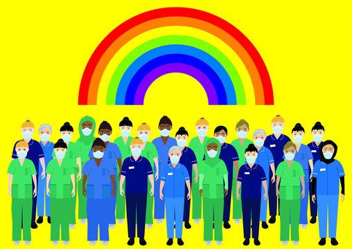 NHS staff rainbow coronvirus pandemic 2020