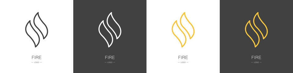 Set of fire logos. Collection. Modern style. Vector illustration  Fotomurales