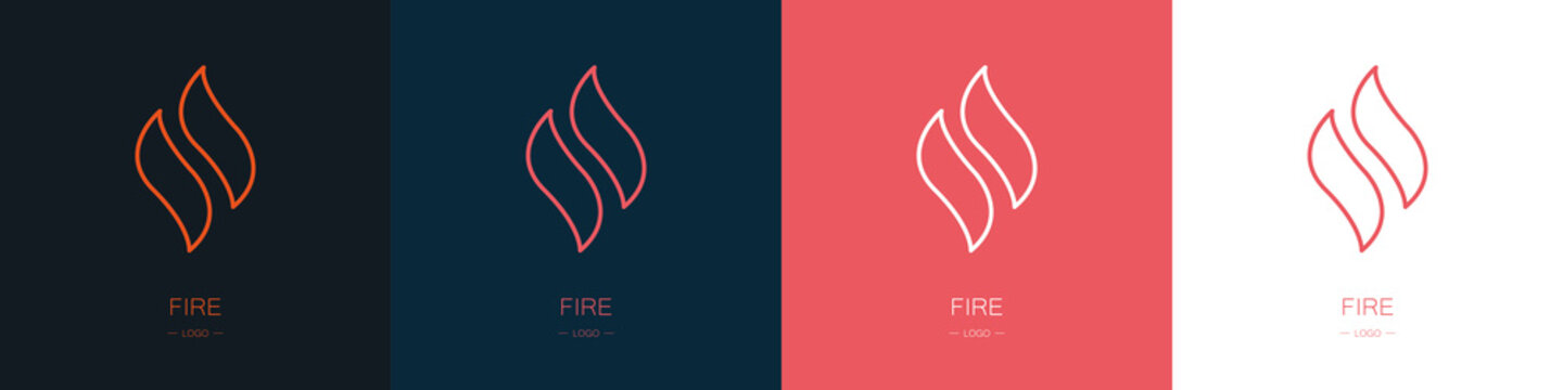 Set of fire logos. Collection. Modern style. Vector illustration