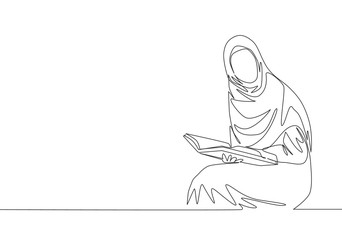 One single line drawing of young attractive muslimah with headscarf reading book at library. Beautiful Asian woman model in trendy hijab fashion concept continuous line draw design vector illustration