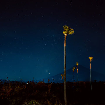 Night balinese sky, Mount Agung Bali, Indonesia