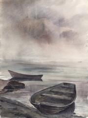 Obraz Akwarela Łodzie