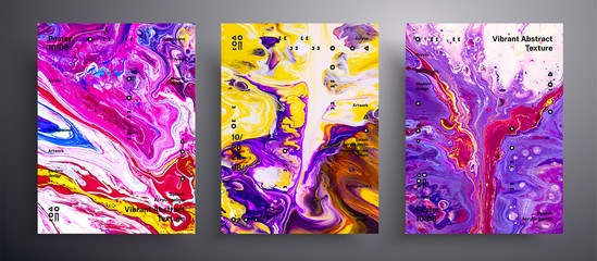 Fototapete - Abstract acrylic placard, fluid art vector texture collection. Trendy background that can be used for design cover, poster, brochure and etc. Violet, yellow and pink unusual creative surface template