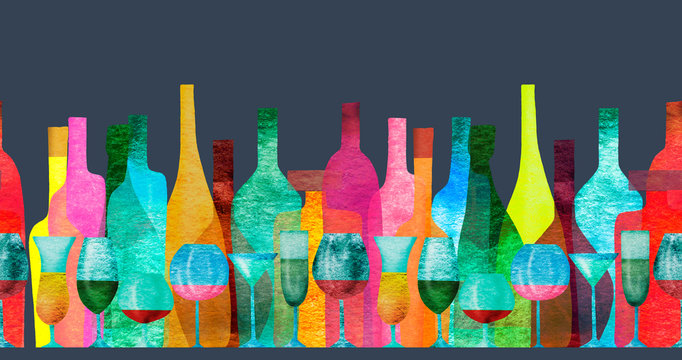 Seamless ribbon border with stylized silhouettes of colored bottles of alcohol and glasses. Watercolor.