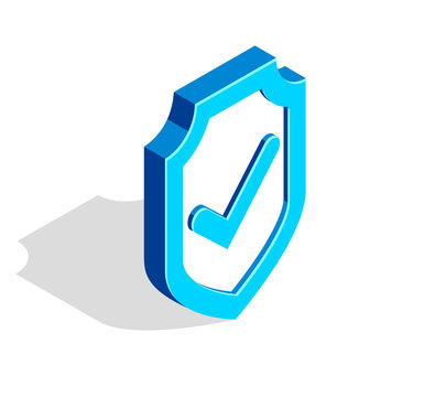 Blue shield with check mark tick vector 3d isometric vector illustration isolated on white, data protection, cyber security, internet antivirus concept.