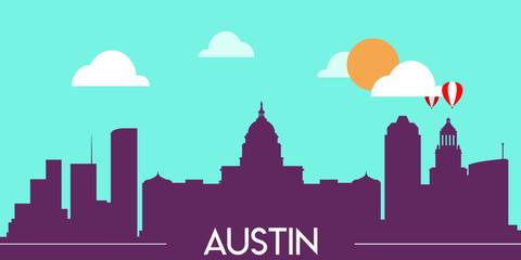 Foto auf Gartenposter Reef grun Austin skyline silhouette flat design vector illustration