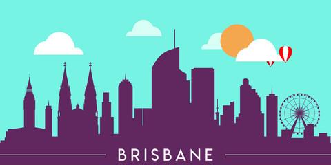 Wall Murals Green coral Brisbane skyline silhouette flat design vector illustration