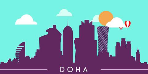 Foto auf Gartenposter Reef grun Doha Qatar skyline silhouette flat design vector illustration