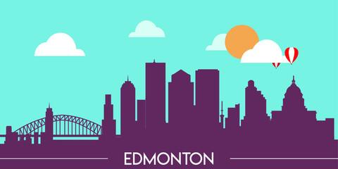 Wall Murals Green coral Edmonton skyline silhouette flat design vector illustration