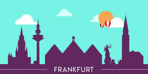Wall Murals Green coral Frankfurt skyline silhouette flat design vector illustration