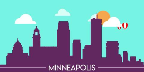 Wall Murals Green coral Minneapolis skyline silhouette flat design vector illustration