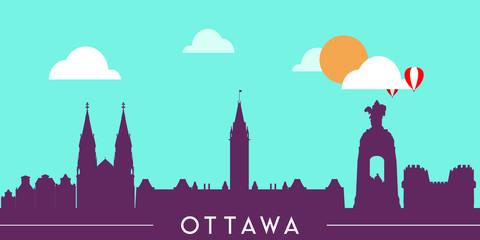 Wall Murals Green coral Ottawa skyline silhouette flat design vector illustration