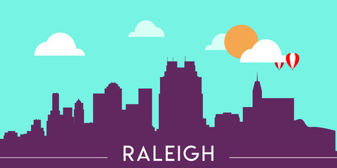 Wall Murals Green coral Raleigh skyline silhouette flat design vector illustration