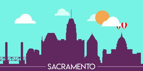 Wall Murals Green coral Sacramento skyline silhouette flat design vector illustration