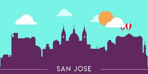 Wall Murals Green coral San Jose skyline silhouette flat design vector illustration
