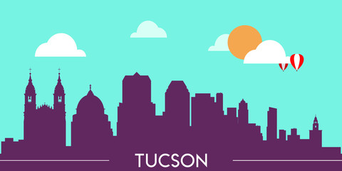 Wall Murals Green coral Tucson skyline silhouette flat design vector illustration