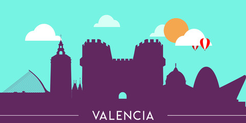 Wall Murals Green coral Valencia skyline silhouette flat design vector illustration