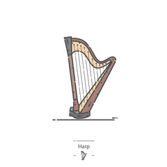 Pedal Harp - Line color icon