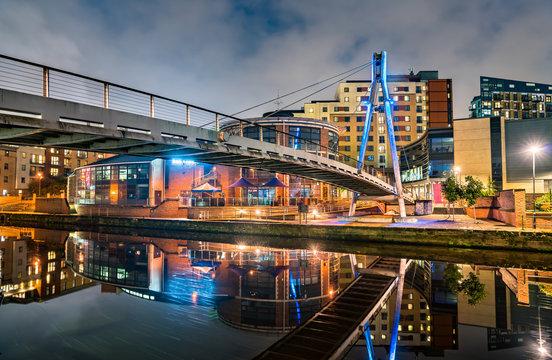 Footbridge across the Aire River in Leeds, England