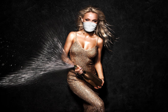 Beautiful blonde woman in face mask on black background.