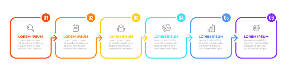 Thin line flat process . Business infographic with 6 options, arrows. Vector linear elements for presentation.