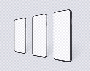 Realistic smartphones in row en perspective view with empty screen. Mobile phone mockup set for presentation yout app design or website. Isolated black cell device template, vector 3d illustration.