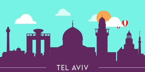 Wall Murals Green coral Tel Aviv skyline silhouette flat design vector illustration