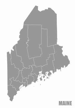 Maine State Map with counties isolated on white background