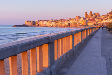 Fototapete - Beautiful view of the beach, Cefalu Cathedral and old town of coastal city Cefalu at sunset, Sicily, Italy