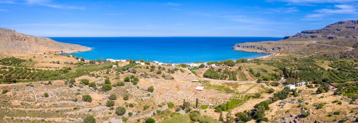 The peaceful village of Kato Zakros at the eastern part of the island of Crete with beach and tamarisks, Greece