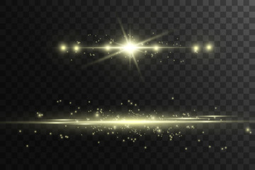 Bright stars. Set of golden bright beautiful stars. Light effect on a dark background. stars for christmas decoration Wall mural