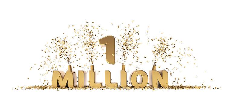 One million achievement celebration 3D rendering