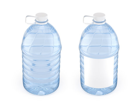 Two 5L plastic bottles  water with white cap