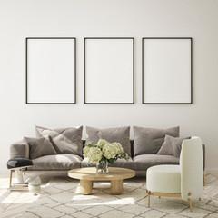 Photo sur Aluminium Pierre, Sable mock up poster frame in modern interior background, living room, Scandinavian style, 3D render, 3D illustration