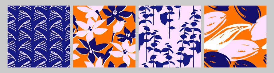 Fotorolgordijn Kunstmatig Artistic set of seamless patterns with abstract flowers and leaves.