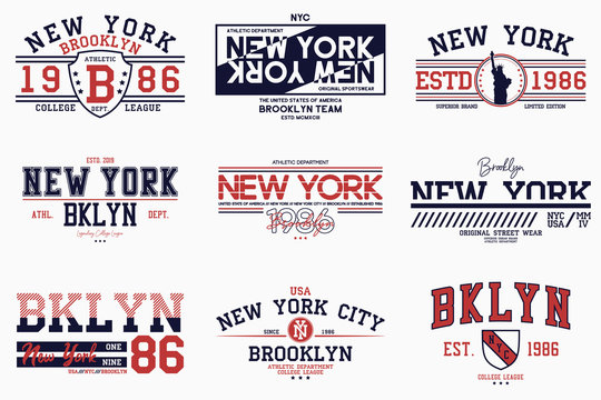 Set of Brooklyn, New York slogan prints for t-shirt. Typography graphics for college tee shirt. NY stamp collection for varsity apparel design. Vector.
