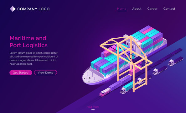 Transport logistics isometric landing page, ship in port with ramp, train and trucks. Delivery service company, cargo and goods export and import over world, industrial business, 3d vector web banner