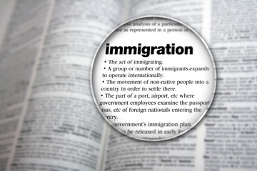 An illustrative concept design to explain the word 'Immigration'.