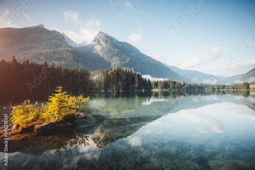Wall mural Famous alpine lake Hintersee. Location resort Ramsau, National park Berchtesgadener Land, Germany Alps.