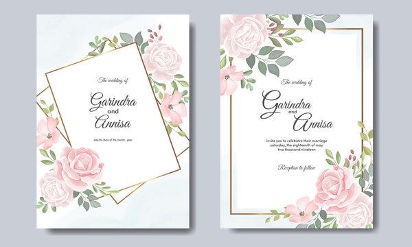 Elegant wedding invitation cards template with pink and blush roses  design Premium Vector