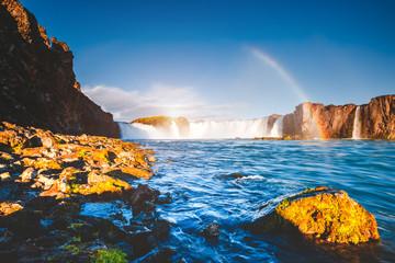 壁紙(ウォールミューラル) - Fantastic scene of powerful Godafoss cascade. Location place Bardardalur valley, Iceland, Europe.