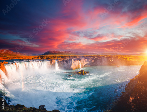 Wall mural Fantastic scene of powerful Godafoss cascade. Location place Bardardalur valley, Iceland, Europe.