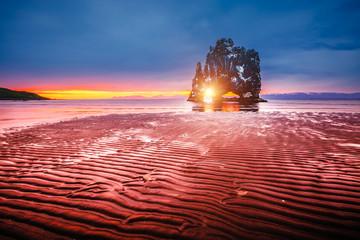 Wall Mural - Charming dark sand after the tide. Location famous Hvitserkur rock, Vatnsnes peninsula, Iceland, Europe.